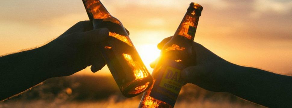 Bier im Abendrot