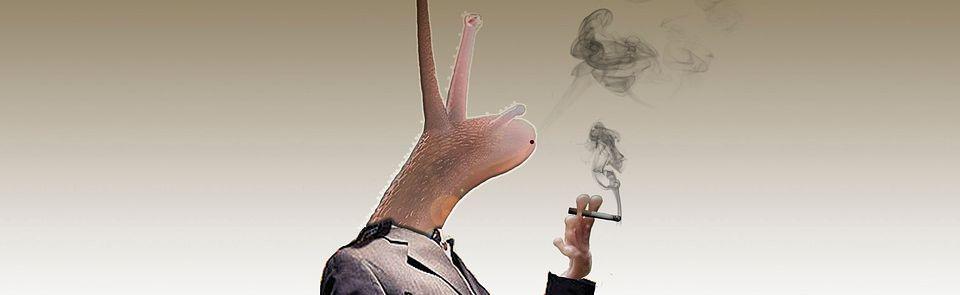 Rauchende Comicschnecke