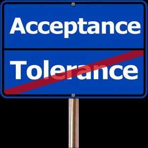 Schild Akzeptanz und Toleranz