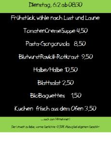 Speisekarte Kuchltheater